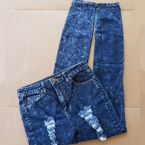 LNG's Fashion Distressed Acid Wash Jeans